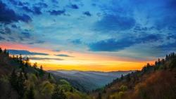 Great Smoky Mountains National Park Sunrise Scene Gatlinburg TN Oconaluftee Valley