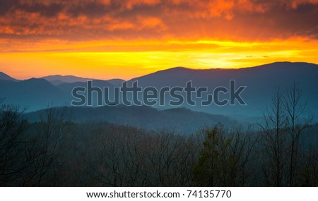 Great Smoky Mountains National Park Sunset over Gatlinburg TN with layered mountains