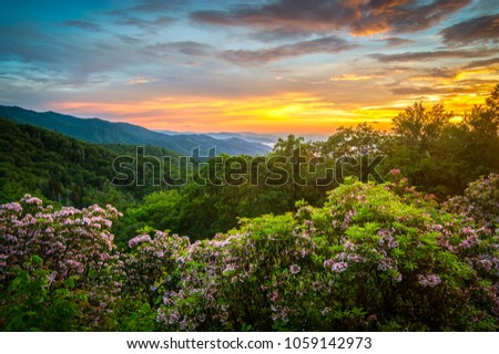 Great Smoky Mountains Spring Sunset North Carolina #1059142973