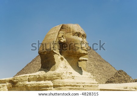 Great Sphinx statue in Egypt on Giza Plateau one of  world?s largest and oldest statues