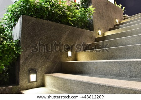 Great staircase with down light #443612209