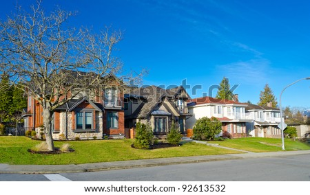 Great suburbs neighborhood. Homes of the North America. Canada.