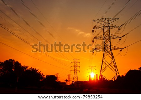 great sunset on pylon towers