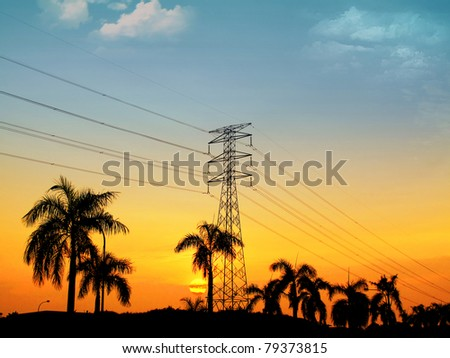 great sunset via electrical pylon tower