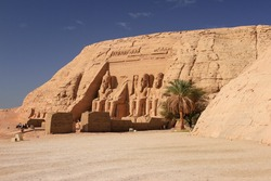 Great Temple of Ramses II with blue sky at Abu Simbel, Egypt