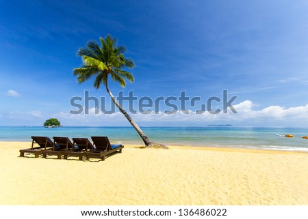 great tropical seascape with blue sky