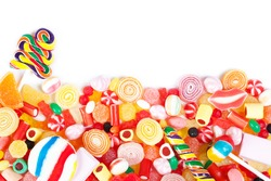 Great variety of colorful candy with white copyspace