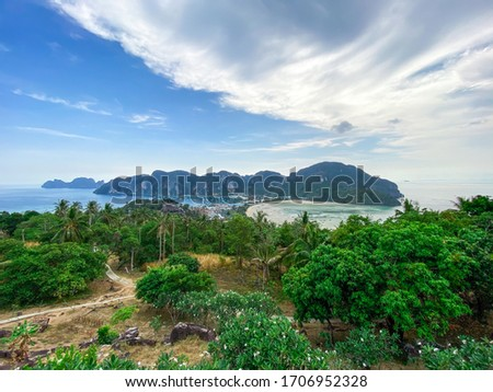 Great view from view point of the tropical paradise island Phi Phi Don to Phi Phi archipelago, Krabi province, Thailand. Background, concept of travel, vacation in tropical countries and tours
