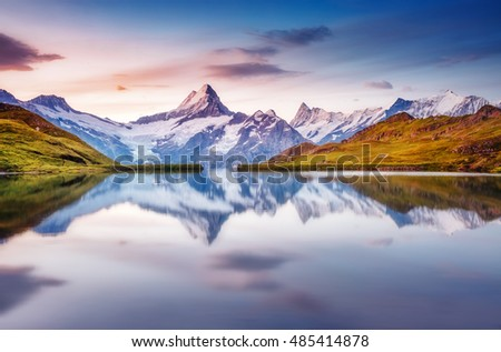 Great view of Mt. Schreckhorn and Wetterhorn above Bachalpsee lake . Dramatic and picturesque scene. Location place Swiss alps, Bernese Oberland, Grindelwald, Europe. Soft filter effect. Beauty world. #485414878