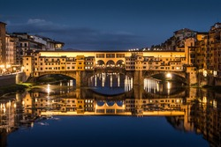 Great View of Ponte Vecchio at night. Firenze, Italy.