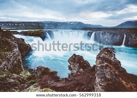 great view of powerful godafoss ...