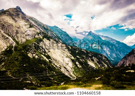 Great view of swiss alps and lakes
