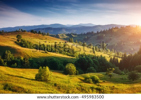 Great view of the alpine valley that glowing by sunlight. Picturesque and gorgeous morning scene. Popular tourist attraction. Location place Carpathian, Ukraine, Europe. Artistic picture. Beauty world - Shutterstock ID 495983500