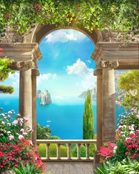 Great view of the bay in Europe in the rays of daylight. Digital mural. Digital fresco.