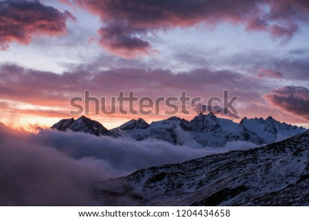 Great view of the foggy valley in Gran Paradiso,  Alps, Italy,  dramatic scene, beautiful world. colourful autumn morning,scenic view with cloudy sky, dawn in mountain landscape, scenic wallpaper #1204434658