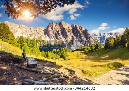 Great view on the Pizes de Cir ridge, valley Gardena. National Park Dolomites, South Tyrol. Location Ortisei, S. Cristina and Selva Gardena, Italy, Europe. Dramatic scene. Beauty world. #344214632
