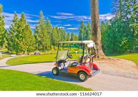 Great view (panorama, outlook ) at the beautiful golf course with the cart in front of.