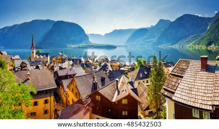 Great views of the lake and Hallstatter and Hallstatt Lutheran Church. Picturesque and gorgeous scene. Location famous place , Austria, region of Salzkammergut, Europe. Beauty world.