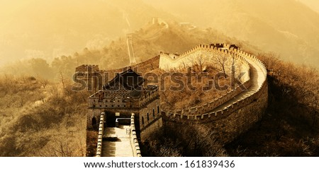 great wall in old yellow tone...
