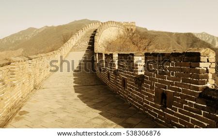 great wall in old yellow tone...