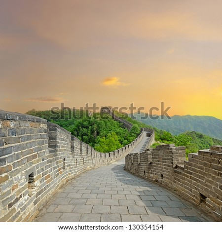 Great Wall of China during sunset in Summer