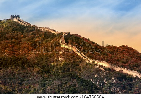 Great Wall on the mountain, Beijing of China