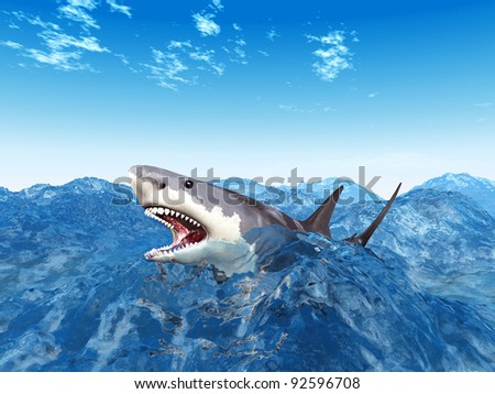 Great White Shark  Computer generated 3D illustration