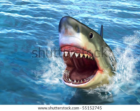 Great white shark jumping out of water with its open mouth. Digital illustration.
