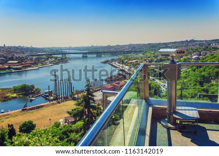 Greatest panoramic view of Golden Horn from Pierre Loti hilltop in Eyup district, Istanbul, Turkey