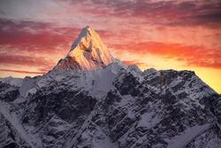 Greatness of nature. Ama Dablam peak (6856 m) at sunset. Nepal, Himalayas.     Canon 5D Mk II.