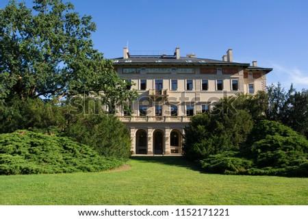 Grebovka, Havlicek gardens, Prague - Vinohrady, Czech Republic / Czechia - park and beautiful historical villa and large house. Sunny weather.