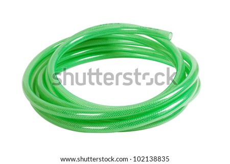 gree plastic hose isolated on white background