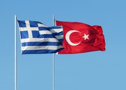 Greece and Republic of Turkey are the two neighboring countries flags
