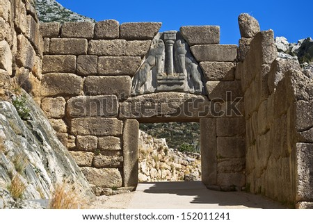Greece. Archaeological Site Of Mycenae - The Lion Gate. The Archaeological Sites Of Mycenae And Tiryns Is On Unesco World Heritage List Since 1999