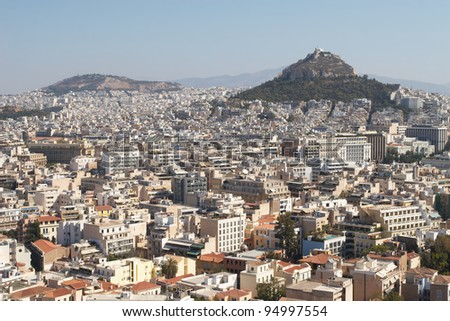 Greece, Athens. View of the city and Lycabettus Hill