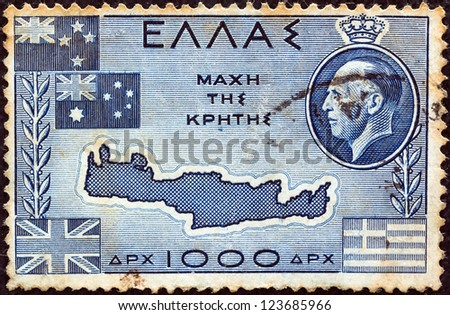 """GREECE - CIRCA 1950: A stamp printed in Greece from the """"Battle of Crete"""" issue shows Map of Crete, flags of Greece, Great Britain, Australia, New Zealand and King George II, circa 1950."""