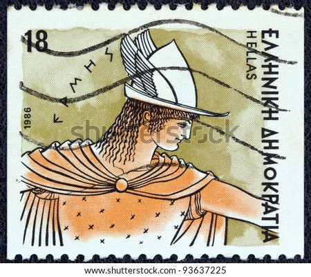 "GREECE - CIRCA 1986: A stamp printed in Greece from the ""Gods of Olympus"" issue shows god Hermes, circa 1986."
