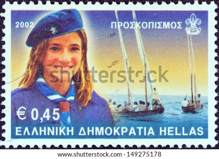 "GREECE - CIRCA 2001: A stamp printed in Greece from the ""Scouting "" issue shows Navy scout girl, circa 2001.  - stock photo"
