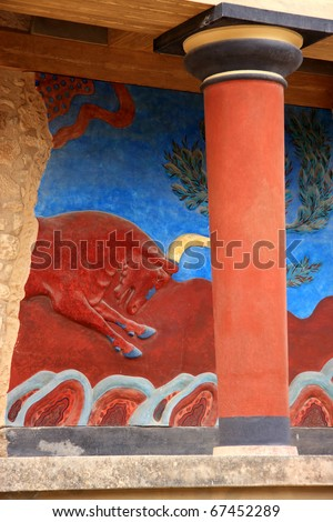 Greece Crete Heraklion Knossos Palace bronze age Minoan  archaeological site fresco of bull and classical Minoan column