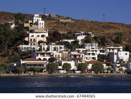 Greece Dodecanese islands Patmos Skala viewed from the Aegean sea Unesco World heritage site