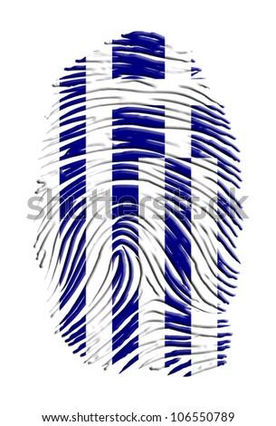 Greece flag on finger print