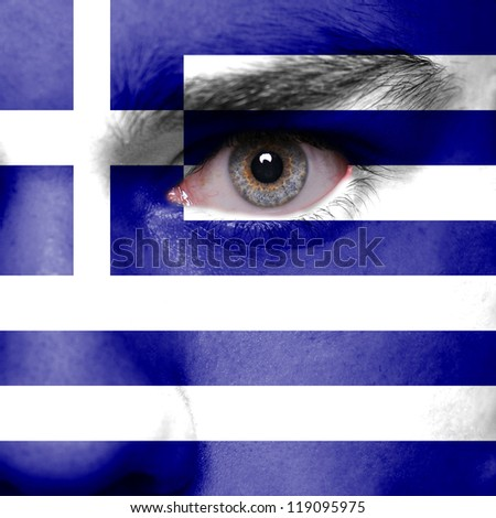 Greece flag painted on face