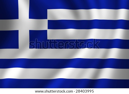 Greece flag waving in the wind