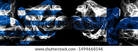 Greece, Greek, Finland, Finnish, flip competition thick colorful smoky flags. European football qualifications games #1494668546