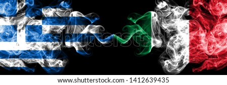 Greece, Greek, Italy, Italian competition thick colorful smoky flags. European football qualifications games #1412639435