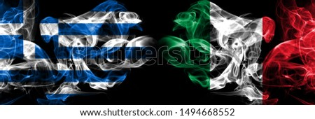 Greece, Greek, Italy, Italian competition thick colorful smoky flags. European football qualifications games #1494668552
