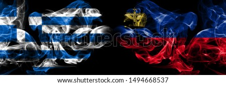 Greece, Greek, Liechtenstein competition thick colorful smoky flags. European football qualifications games #1494668537