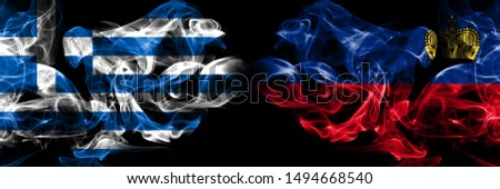 Greece, Greek, Liechtenstein, flip competition thick colorful smoky flags. European football qualifications games #1494668540
