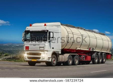GREECE. ISLAND RODOS- June 16, 2013. Trailer tanker truck on the highway.. Greece, Rhodes  16.06.2013 #587239724