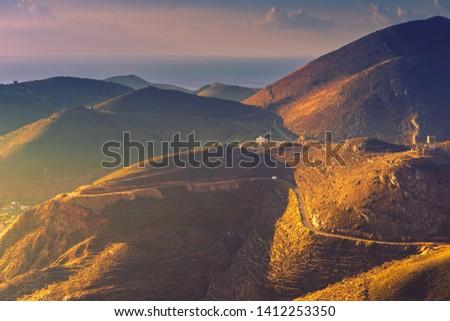 Greece Mani Peninsula. Rocky hills mountains landscape. Laconia Peloponnese, Europe